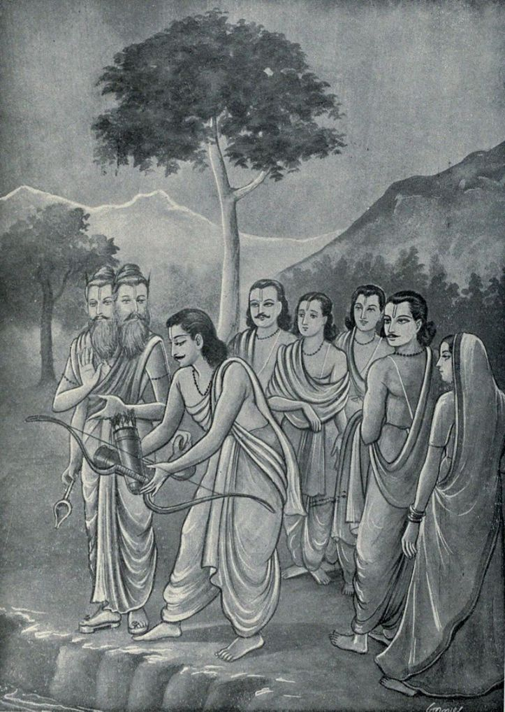 Arjuna_throws_his_weapons_in_water_as_advised_by_Agni